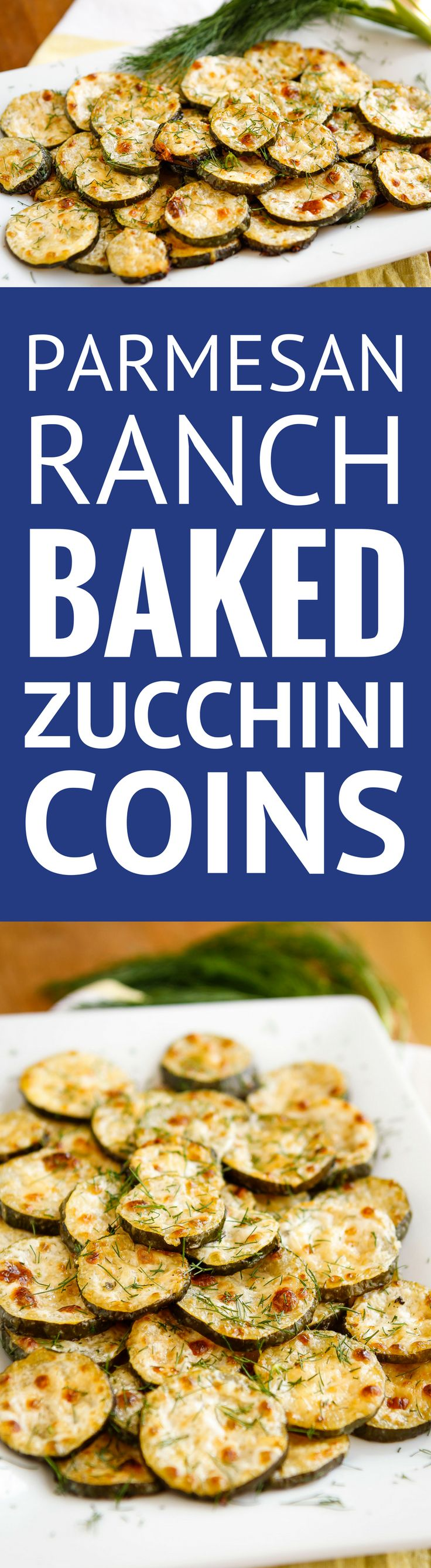 Parmesan-Ranch Baked Zucchini Coins -- need a good zucchini recipe to use up your bounty? This baked zucchini recipe, with its parmesan and ranch flavors, is absolutely fabulous! | baked zucchini parm