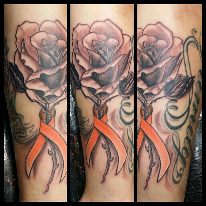 Rose tattoo with leukemia ribbon