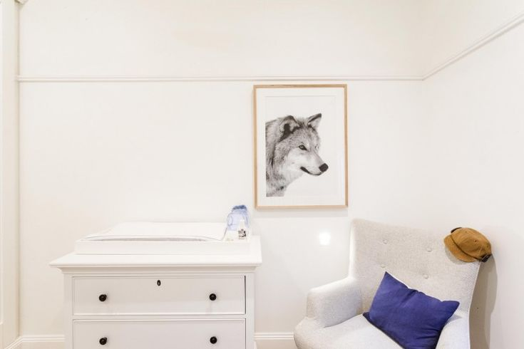 White chest l Padded nursery chair l Wolf artwork l Week 5 Reno Rumble Bedrooms l Photos & Highlights