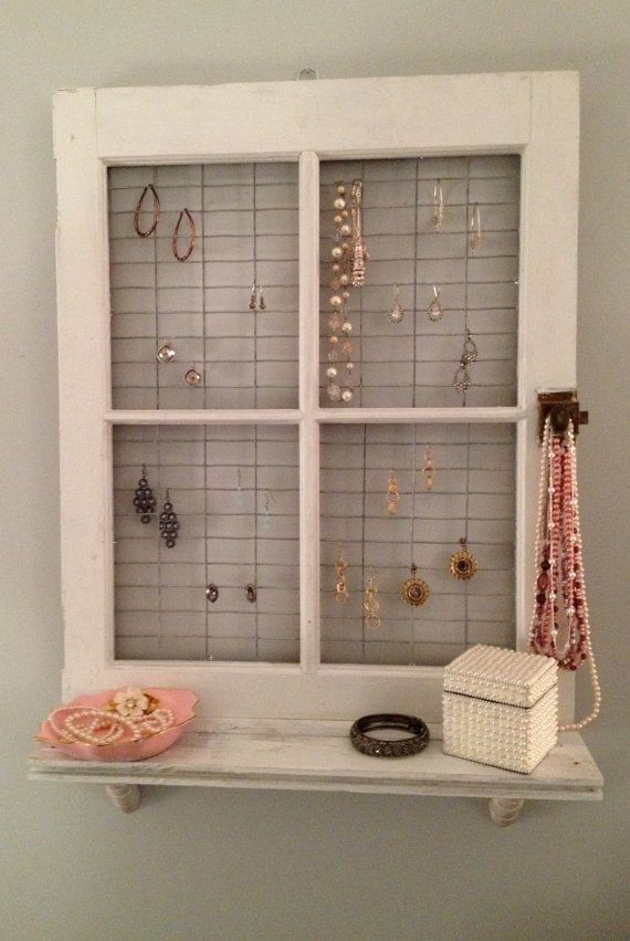 Vintage Window Frame and Shelf Wall Decor by AsIsRepurposedItems