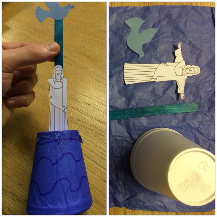 Jesus' baptism. Craft for kids! (Though Jesus had to lose his arms to fit inside the cup!) Email luke@stlukesonline.co.uk for templates.