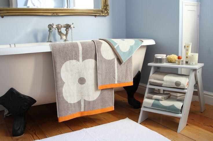 AMARA.COM | Bathroom Orla Kiely, Orla Kiely bathroom accessories, duck egg towel, blue bathrooms, bathroom inspiration