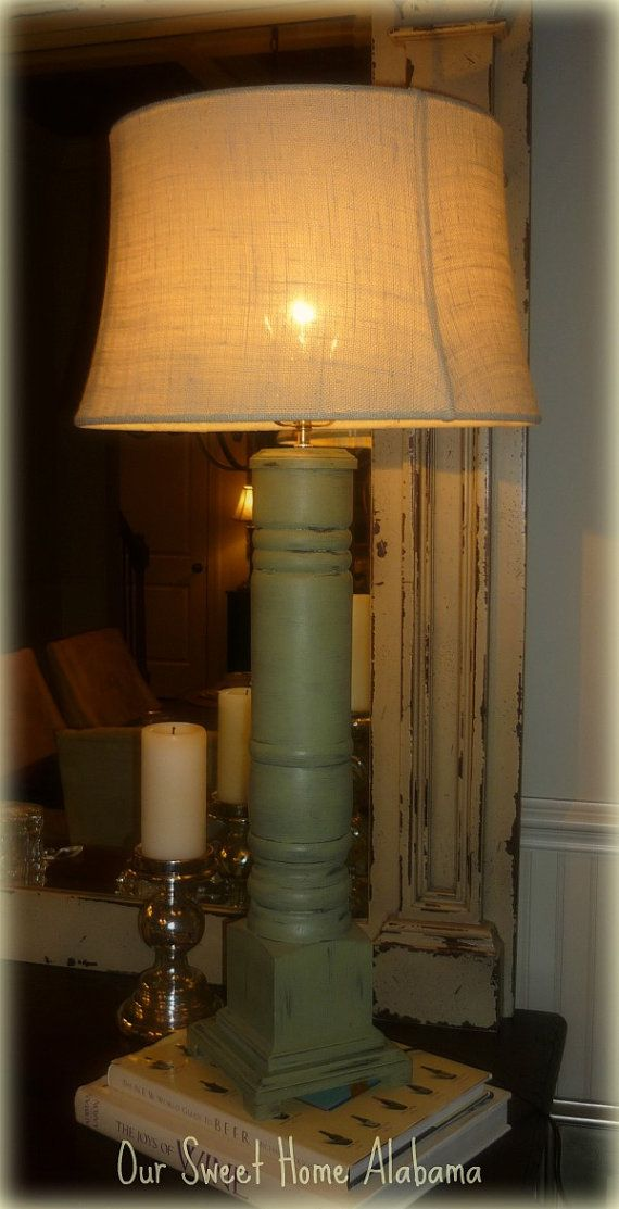 Distressed Grand Porch Column Table Lamp By Oursweethomealabama Living Room