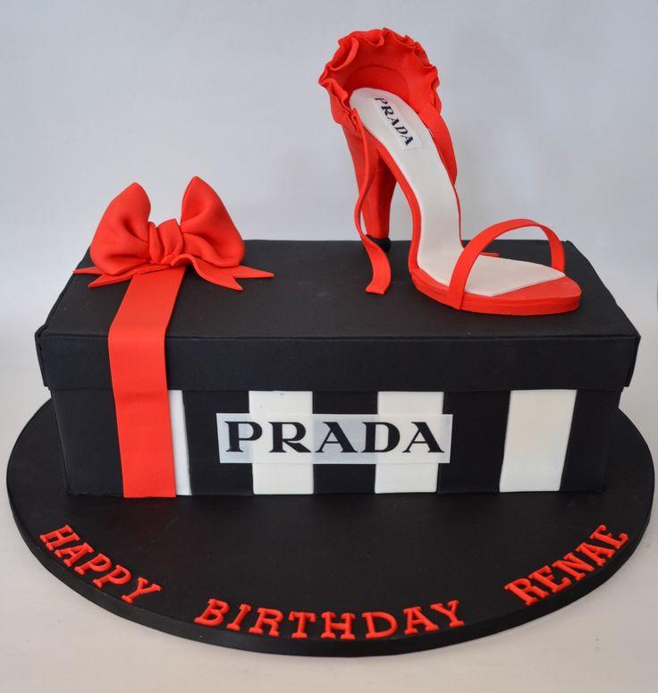 Shoe Box Cake with Prada Label - Birthday Cake for Fashionista
