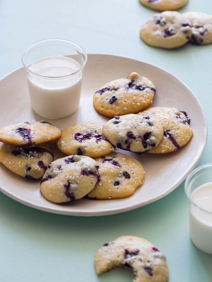 Blueberry Yogurt Cookies with milk