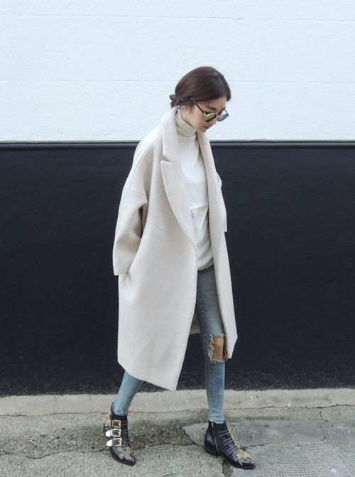 dove grey long coat, distressed jeans, chloe booties #streetstyle