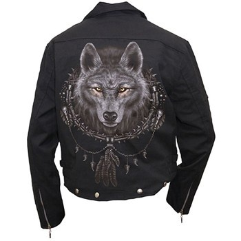 men's biker jacket wolf dreams (black) - rockcollection.co.uk - $825nok e/ fortolling