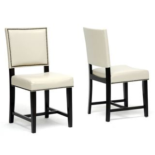 Baxton Studio Nottingham Cream Faux Leather Modern Dining Chairs (Set Of 2)