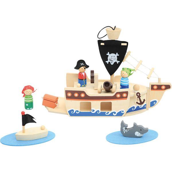 Drewniany statek piracki #creative #wooden #toys #kids #boys  http://www.mojebambino.pl/zestawy-do-zabaw-swobodnych/3489-drewniany-zestaw-piracki.html