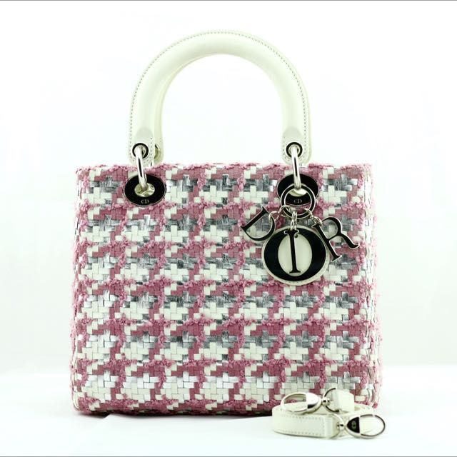 Christian Dior Classic Latte and Rose Magnolia Plaited Leather Tweed Lady Dior on Carousell