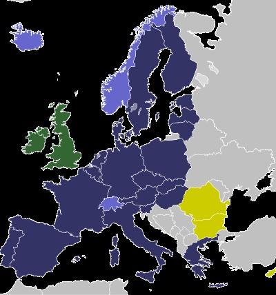 schengen:  purple is schengen (dark for EU and lavender for non-EU), green is for EU-but-not-Schengen, and yellow for future Schengen