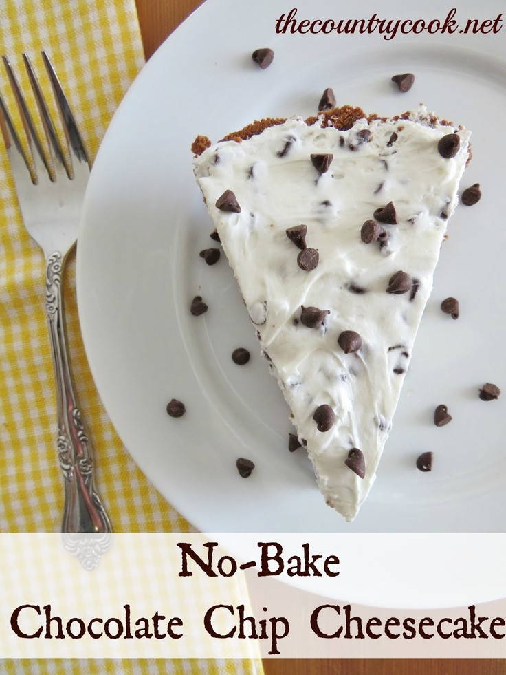 The Country Cook: Chocolate Chip Cheesecake (No-Bake)