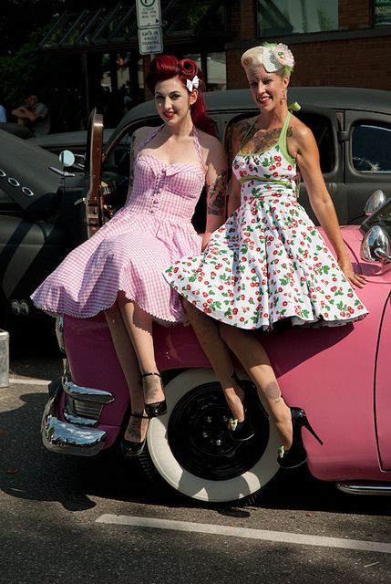 Pair of Dolls    #Pinup #Pin #Up #Dolls #Vintage #Retro #Rockabilly #Legs #Hair #Makeup #Blonde #Red #Redhead #Car #Hood #Tire #Cherry #Print #Pink #Flower #Show #Sitting #Cute