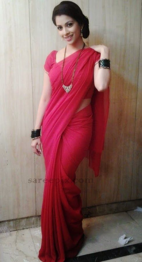 "Hindi TV serial actress Deepali pansare in saree photos. Deepali aka Payal of ""Iss pyaar ko kya naam doon"" is so beautiful in lite transparent saree with m"