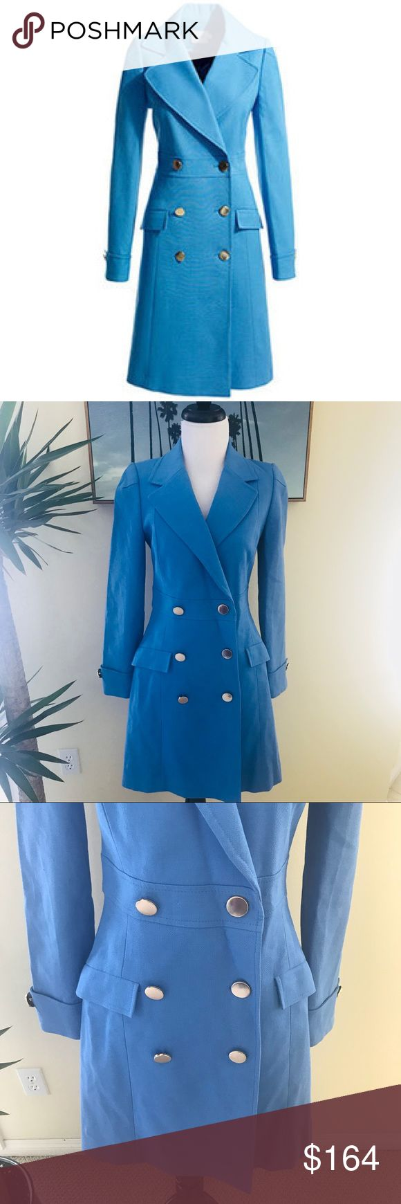 """{Reiss} Ophelia Blue Tailored Cotton Coat Reiss Ophelia Blue Tailored Cotton Coat. Button up front. Front flap pockets. Lined. Foldover flaps and buttons at wrist. Size x-small. Length 36"""". Bust 34"""". Waist 29"""". Hips 36"""". Excellent preworn condition. No trades please! Reiss Jackets & Coats Pea Coats"""