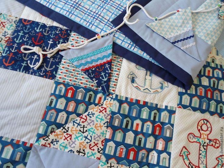 Купить Одеяло лоскутное Морское - синий, морской стиль, интерьер детской, подарок, якорь
