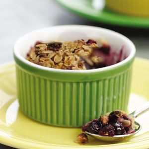 Use whatever fresh or frozen fruit you have on hand to make this old-fashioned crumble. Typical crumble topping has as much as a half cup of butter--ours has just a tablespoon of canola oil and, for richness, chopped almonds, which are full of healthy monounsaturated fats.: Desserts, Sweet, Food, Recipes, Healthy, Old Fashioned Fruit