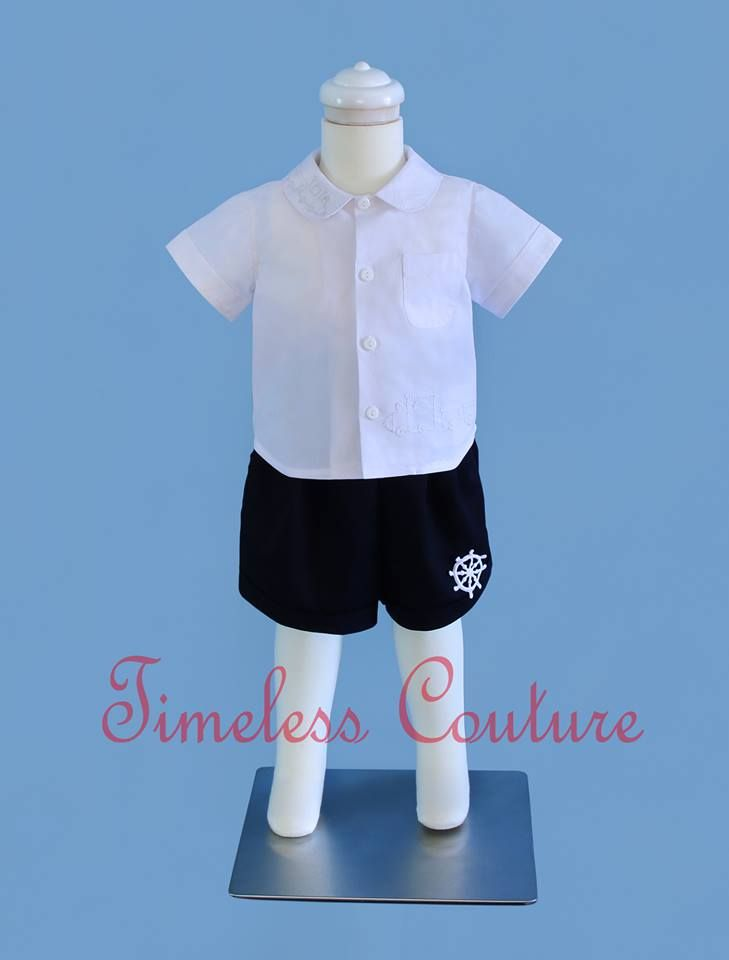 Sailor shorts paired with our Toy shirt in White.  a.b.timelesscouture@gmail.com  www.facebook.com/a.b.timelesscouture