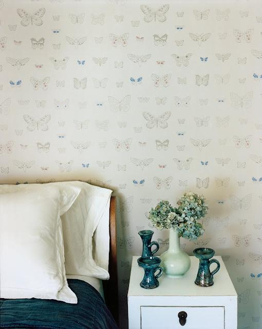my scandinavian home: Finnish style in the Hamptons. Butterfly wallpaper!