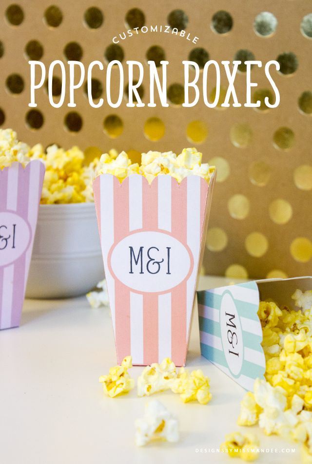 Customizable Popcorn Boxes - Designs By Miss Mandee. These would be great for a watch party or wedding reception! Add your own names or initials to personalize them. FREE printable!