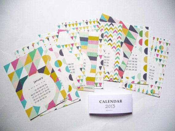 2013 Calendar - wall calendar 2013 geometric. $15.00, via Etsy.