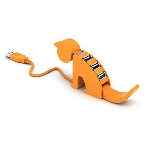 Kitty USB hub has 9 lives, only 4 ports. buy it at http://www.meritline.com/4-port-usb-2-0-hub-cat-shaped-orange---p-41716.aspx?source=fghdac