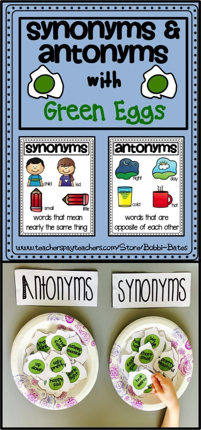 Synonyms and Antonyms with Green Eggs. Fun Way to Explore Synonyms and Antonyms!!!  *Synonym and Antonym Poster *Synonyms & Antonyms eggs for centers and anchor charts *T-chart *Synonym worksheet *Antonym Worksheet *more fun worksheets