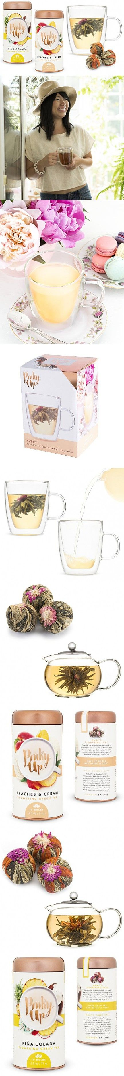 Blooming Tea with 16 oz. Glass Mug for a 3 pc. Flowering Balls Relaxation Gift Set for Women (Peaches, Pina Colada)
