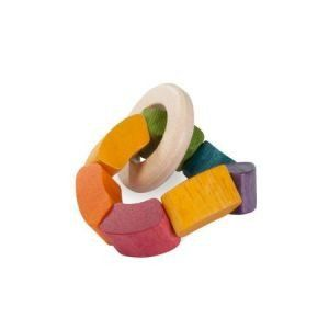 It's a rattle. We can't say much more than that, but it's absolutely stunning!   Using colours from nature - vegetable extracts, this rattle is safe for babies.