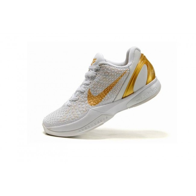 Fitted Nike Zoom Kobe VI Womens Basketball Shoes - White/Gold For $68.90 Go To: http://www.cheapkobeshoesmart.com