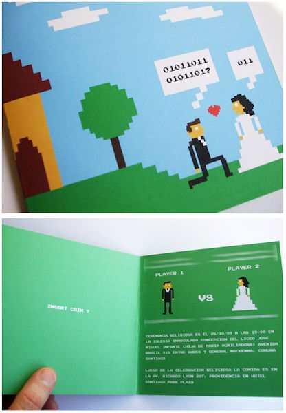 """TOO.  CUTE!  30 Nerdy Wedding Invites (I especially love the Ewoks one, the one in old Victorian-style lettering, the one that looks like a library book card, and the ones that tell the timeline of the couples' relationships. Also, Shelley & Laura planning on """"destroying the sanctity of marriage"""" is hilarious.)  :)"""