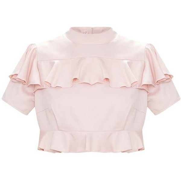 Blush Satin Frill Detail Crop Top ($28) ❤ liked on Polyvore featuring tops, frilled top, flounce crop top, cut-out crop tops, crop tops and ruffle trim top