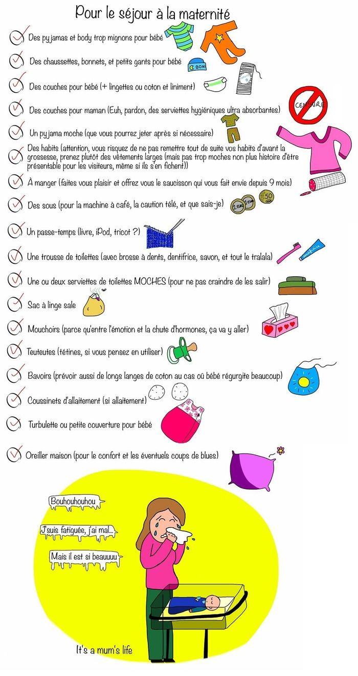 Liste pour la maternité illustrée - pour le séjour à la maternité