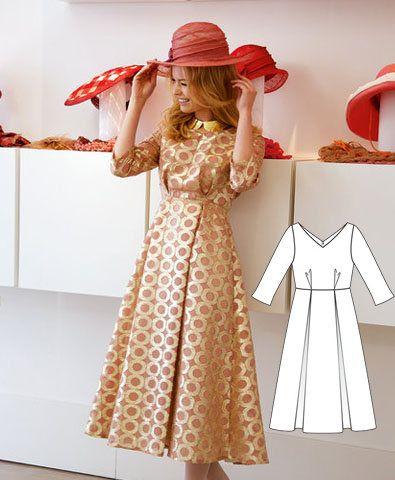 Free patterns to Download Calf-length_dress_medium