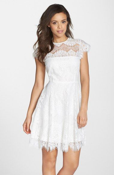 illusion yoke lace fit u0026 flare dress wedding shower