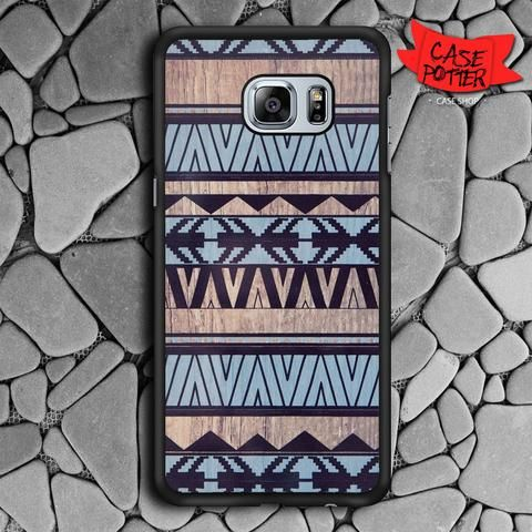 Blue Aztec Pattern Art Wood Samsung Galaxy S7 Edge Black Case