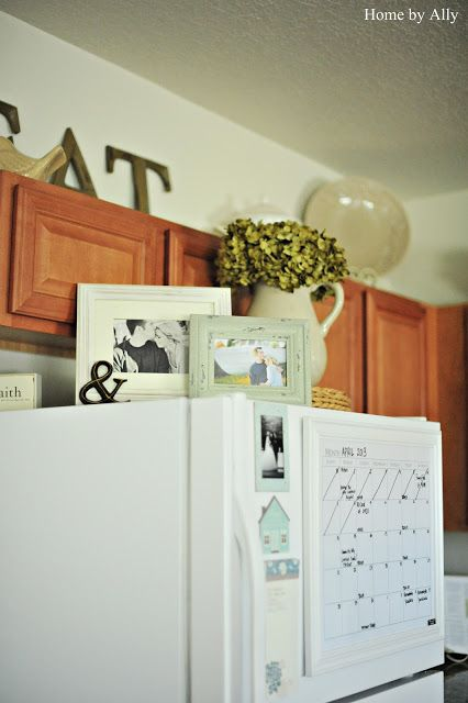 cute picture frames on top of fridge! doing this!