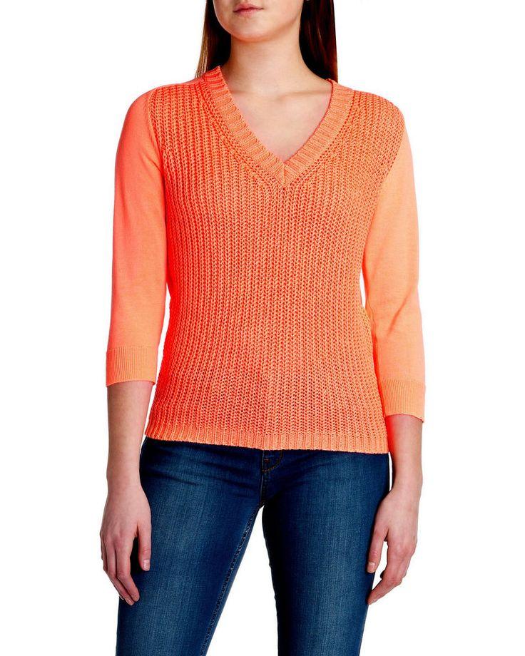 TED BAKER Women's Neon Orange Loop Knit LILLS Sweater Jumper ~ Sz 1 US 4 NWOT #TedBaker #VNeck