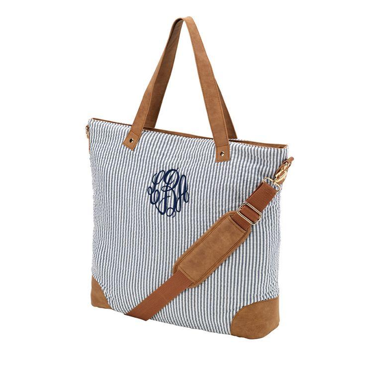 Seersucker Large Monogrammed Shoulder Bag