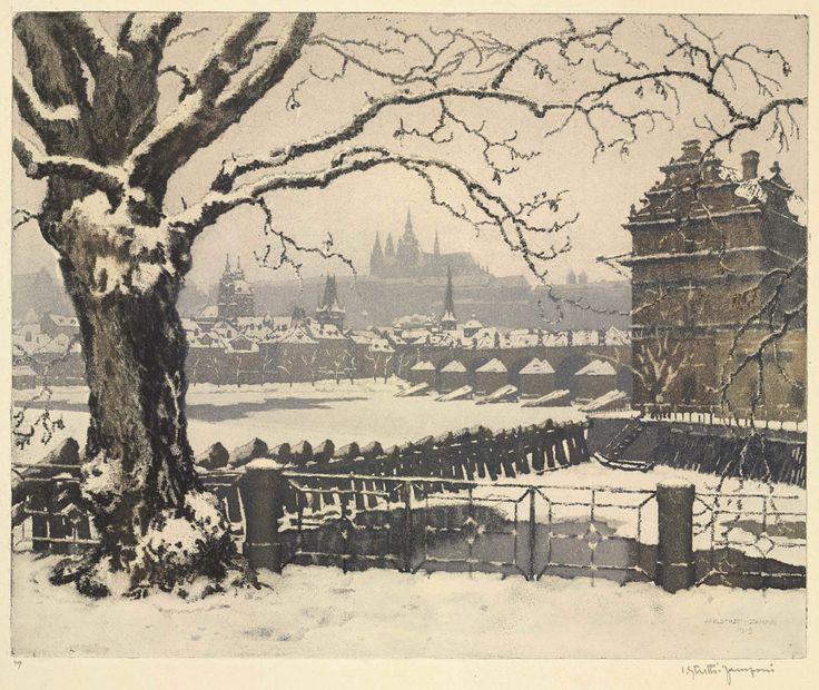 Old Prague, 1919. Jaromir Stretti-Jamponi. Color aquatint