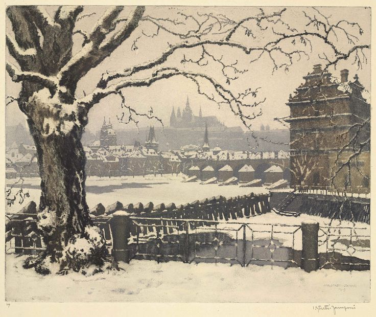 Old Prague, 1919. Jaromir Stretti-Jamponi. Color aquatint