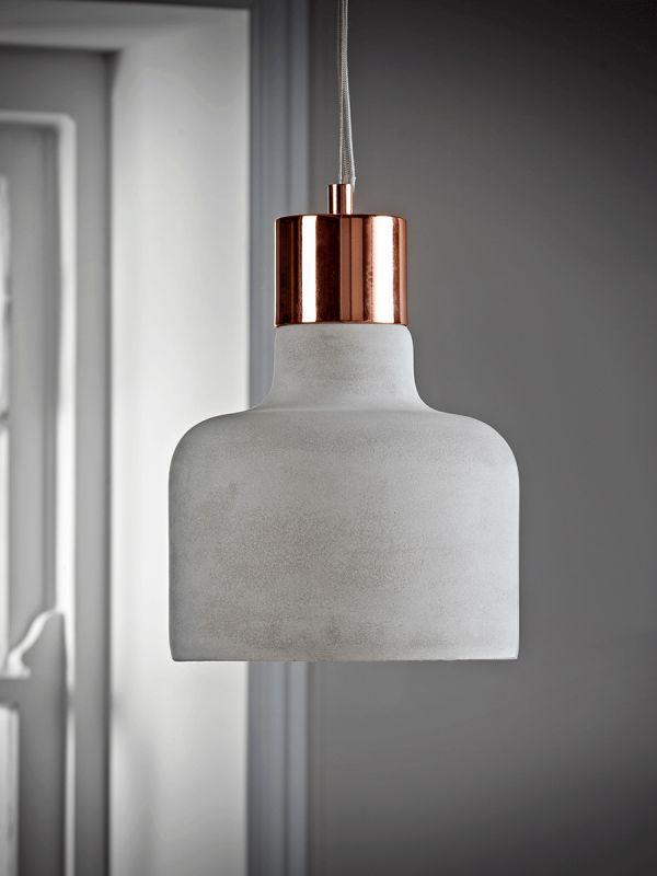 Concrete & Copper Pendant