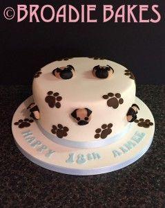 Pug Faces 18th Birthday Cake