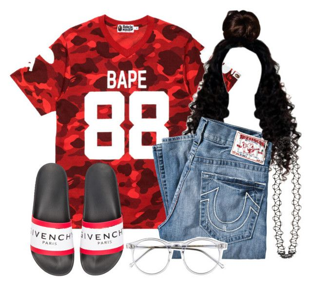 """""""Stretch My Bandz x Pnb Rock"""" by ssophiiia ❤ liked on Polyvore featuring A BATHING APE, True Religion, Givenchy, Wildfox and Topshop"""