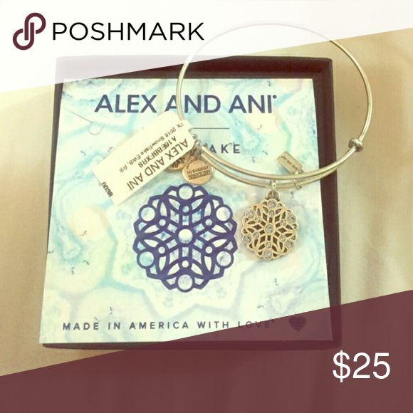 SALE!!!Alex and ani snowflake limited edition Comes with box. New w/out tag.   This bracelet features a stunning and decorative snowflake charm that is studded with sparkling light blue Swarovski Crystal accents that mirror this same pale color that is seen in nature during the winter season. The free-falling snowflake is a reminder of nature's beauty and brilliance, and how the natural world leaves us with an inspired sense of awe and delight when experiencing its unique treasures…