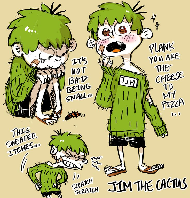 Human Jim   -Ed ate part of Jim's sweater (based on the episode A Glass of Warm Ed)  -his sweater is super itchy and he hates it, but Edd keeps it on him for safety and sanitary issues.   -his skin is white because that's the inner color of a cactus and he has sensitive skin. (hence, why his's wearing that fugly sweater)   -Jim is Edd's baby~ <3 (waiittt… does that mean Kevin's the dad??? idkkk lol)  -he really admires Plank because he's so smart like his papa (Edd).