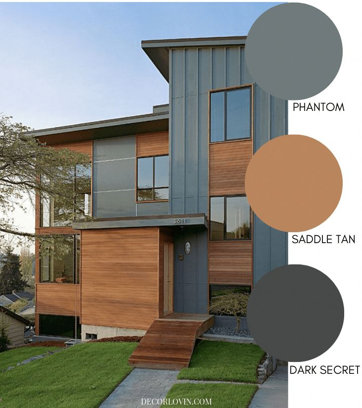 Modern home exterior with natural wood and green grey ... on Modern House Painting  id=85333
