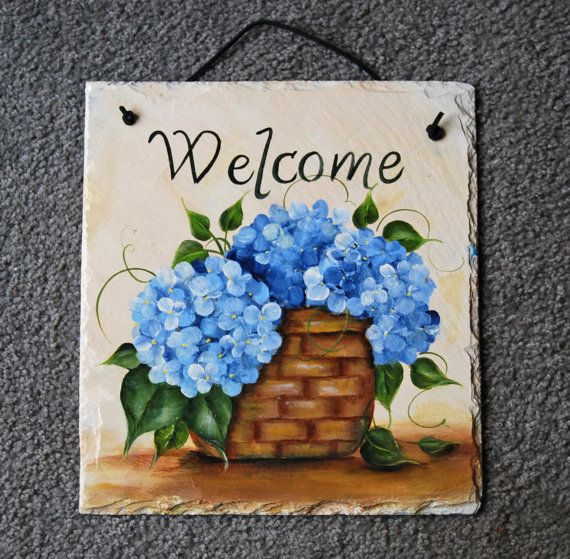 Blue Hydrangea Basket Slate by maureenbaker on Etsy, $35.00
