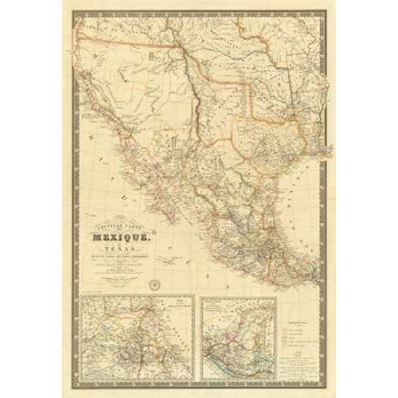 Nouvelle Carte du Mexique Du Texas 1840 Canvas Art - Adrien Hubert Brue (20 x 28)
