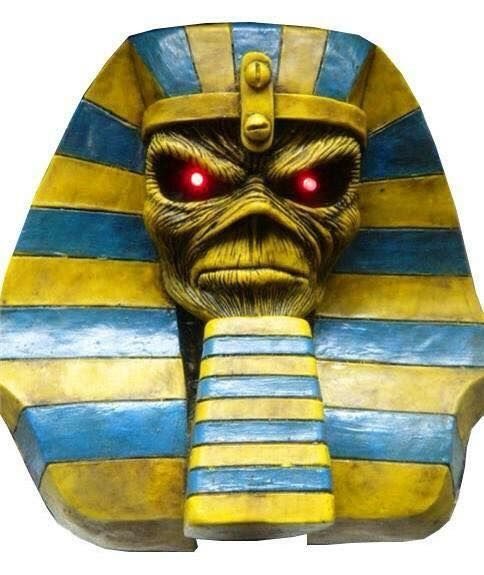 Metal Band IRON MAIDEN POWERSLAVE    Great handcraft piece for your Music Collection .    Details :    Item : table piece head sculpture    Album : Powerslave Iron Maiden    Size : 12 inches tall    Material : Resyn    Eyes light up red    Color : yellow gold,blue    Weight: 4-5 pounds            I have other handmade designs. Check store for more and also in lots at Wholesale prices .    We ship worldwide. Estimate delivery time 10-25 days depending on location / country .    Check…